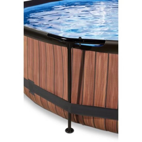 EXIT Wood ø360 x 76cm välibassein filterpumba ja katusega